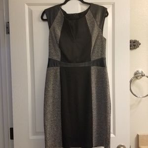 Leather accent dress